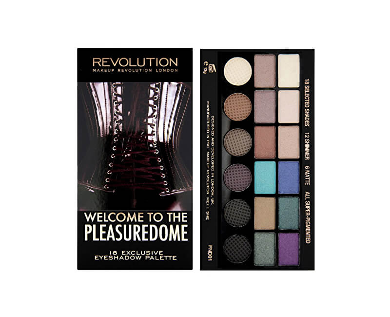 Makeup Revolution Limitovaná paletka 18 očných tieňov Welcome to the Pleasuredome