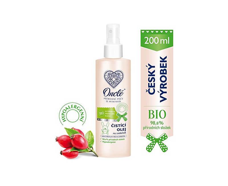 Onclé Luxusní dětský čistící a ochranný olej na zadeček s Bio šípkovým olejem 200 ml