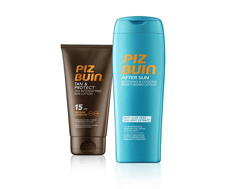 Piz Buin Sada sluneční péče Opalovací mléko urychlující proces opálení SPF 15 Tan & Protect 150 ml + Mléko po opalování After Sun 200 ml