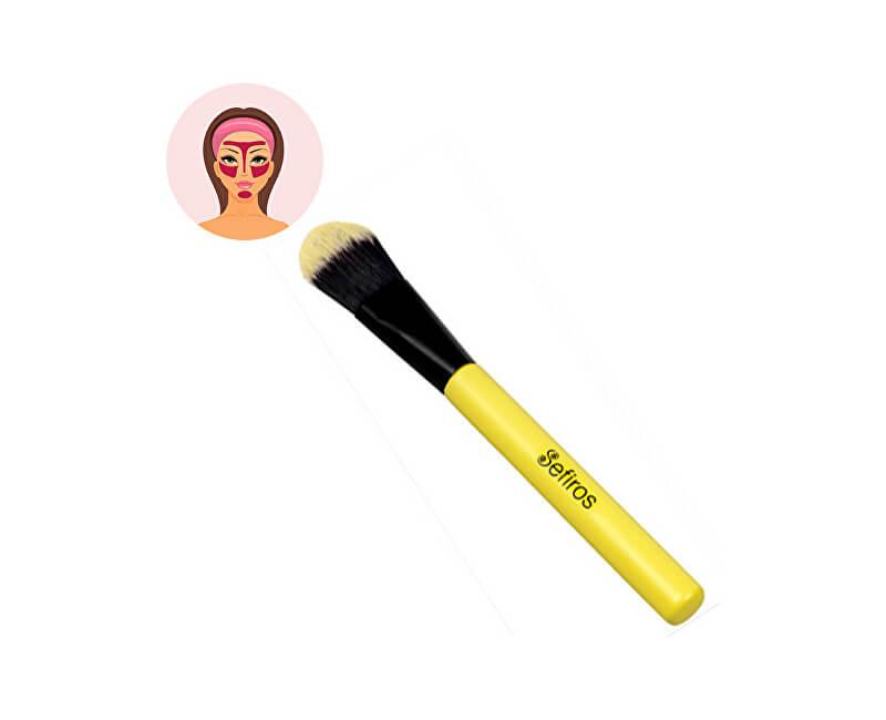 Sefiros Rovný štetec na make-up s rukoväťou Pastell (Foundation Brush Pastell)