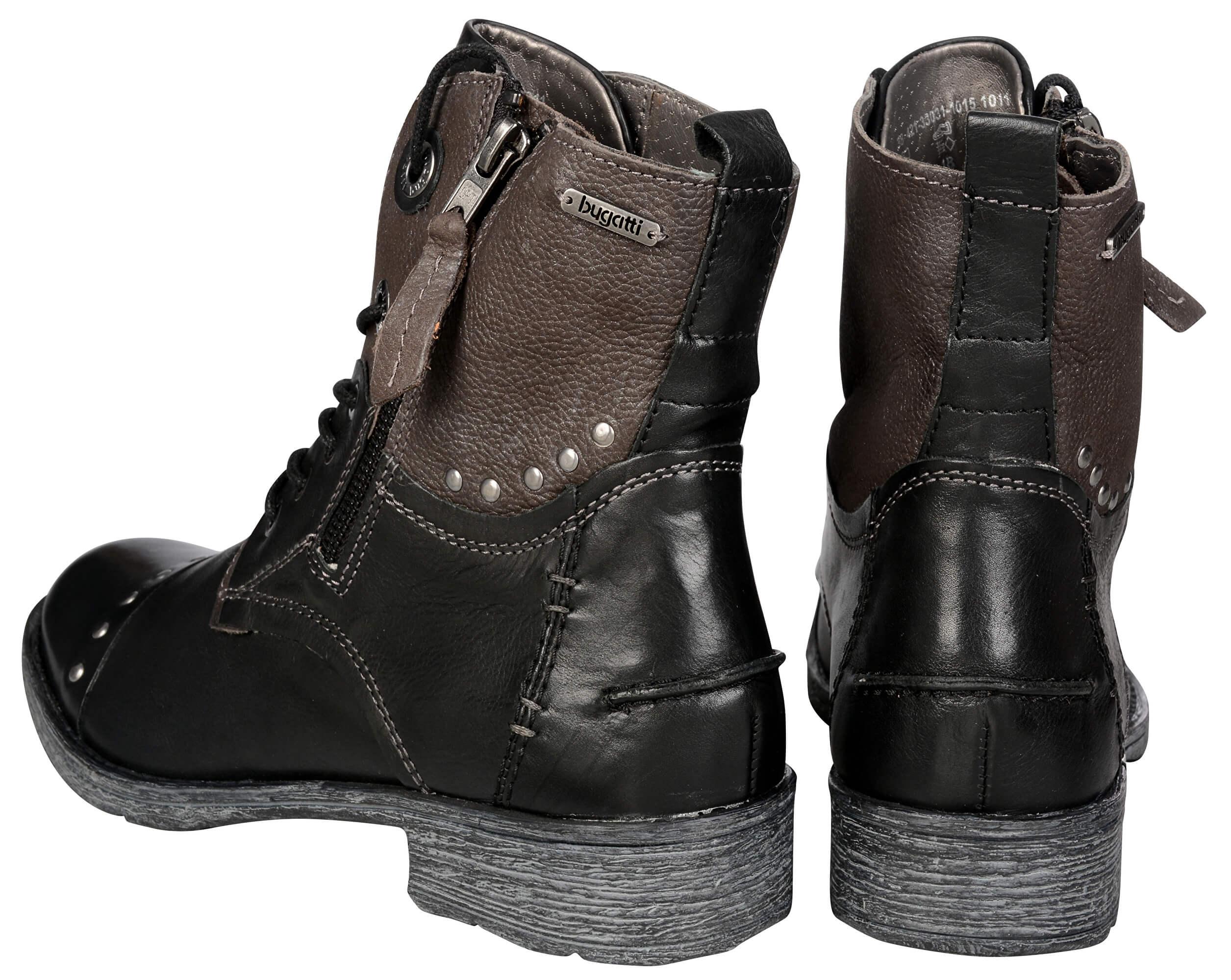 7e1783f7b46 Bugatti Dámské kožené kotníkové boty Kyra 421330311015-1011 Black Dark  Grey. Předchozí  Další