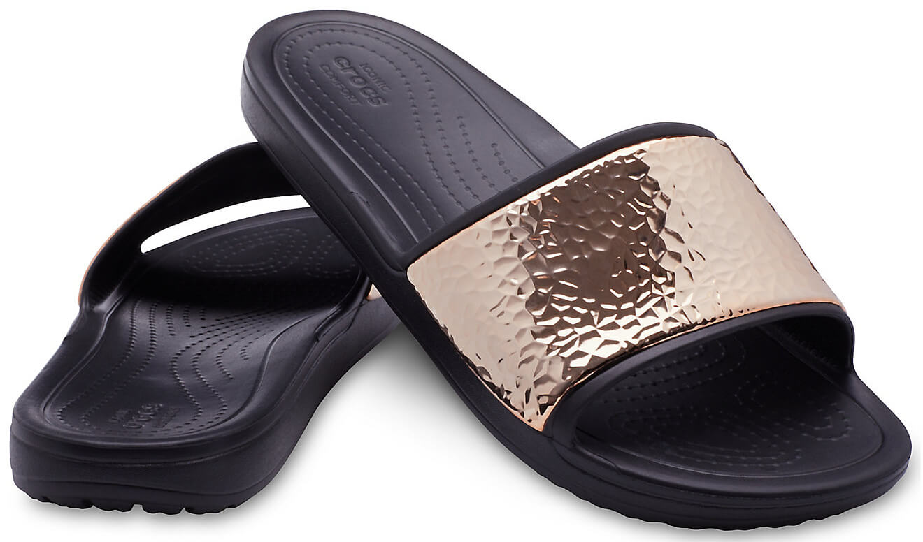 0484616b0ac Crocs Pantofle Sloane Hammered Met Slide Black Rose Gold 205135-08O ...