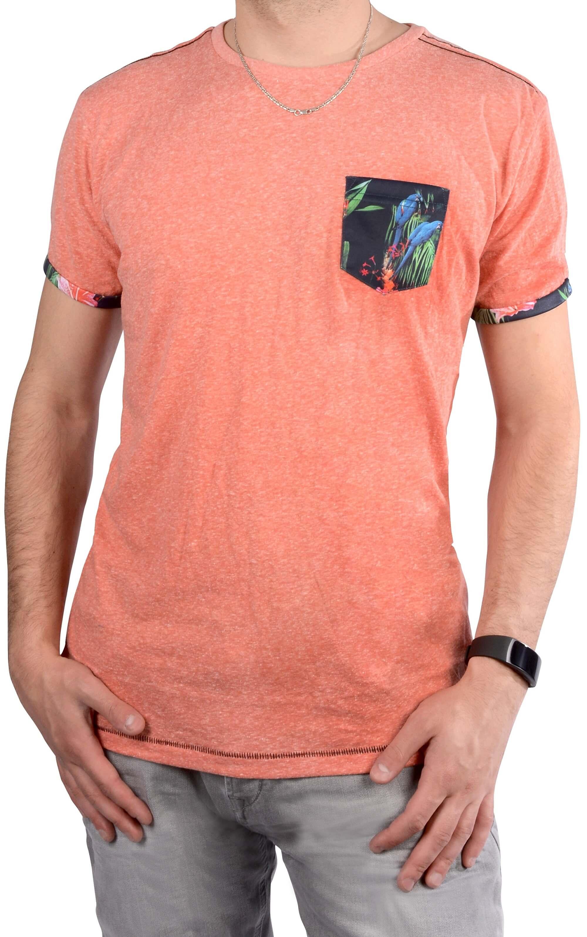 Cars Jeans Pánské růžové tričko s potiskem Colon Coral 4088264 ... 40f5830a43