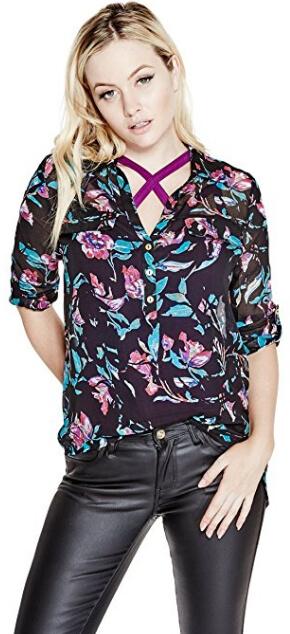 b8f06153f9e Guess Dámská halenka G by GUESS Women`s Alastrina Oversized Blouse Purple  Pill Multi