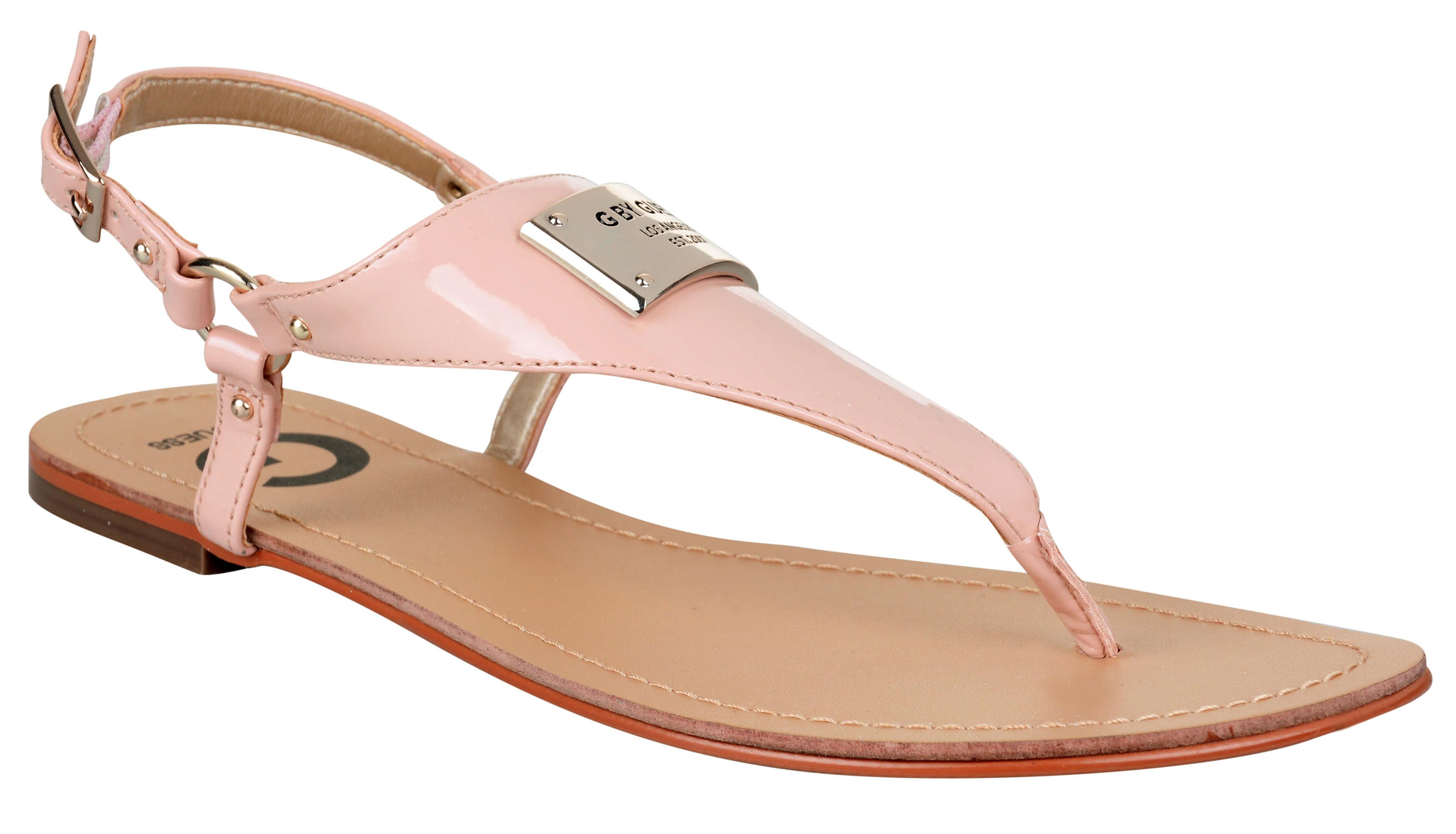 Guess Sandale pentru femei G de către Guess Karmin Faux-Leather Sandals Rose 3834e88d0e3