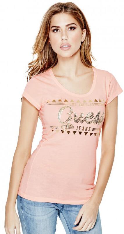 Guess Dámský top Svera Coral Chest Logo Tee Doprava ZDARMA ... e40f564671