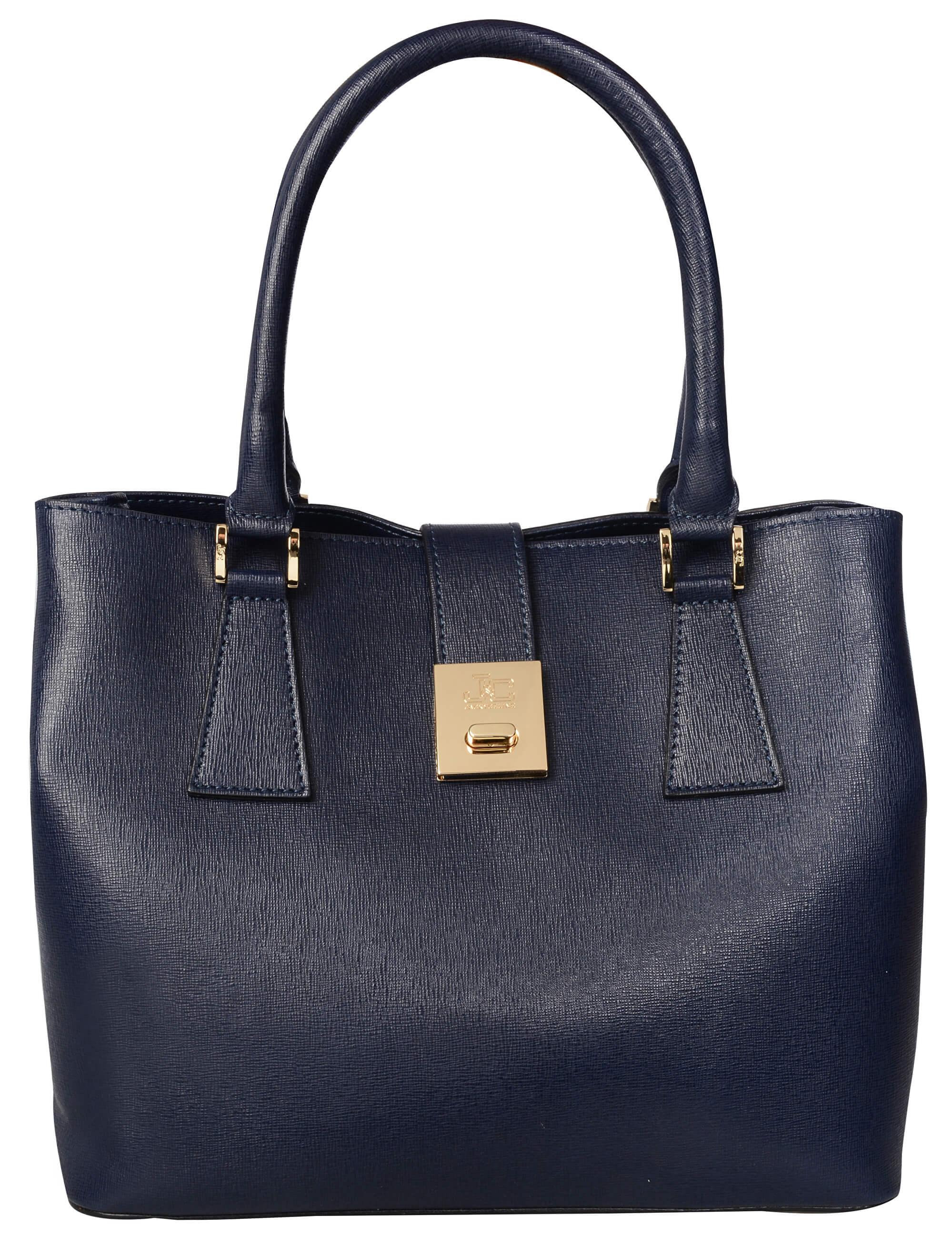 J C JACKYCELINE Dámská kožená kabelka Borsa Pelle S16B301-09-014 Dark Blue 3b363520bcb