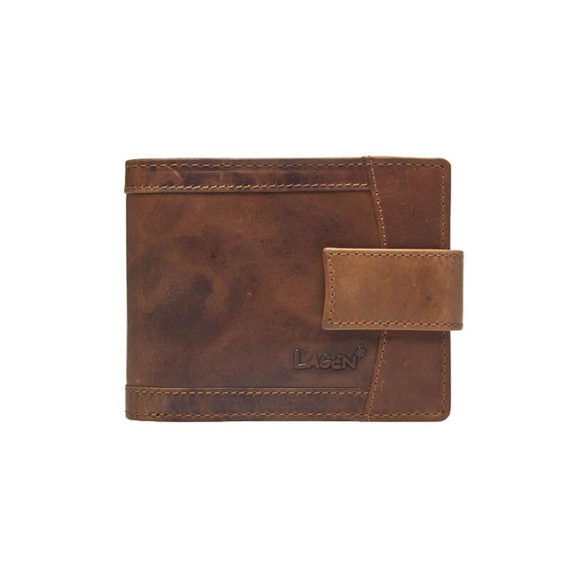 Lagen Pánska hnedá kožená peňaženka Brown V-06   V  6c232bd807e