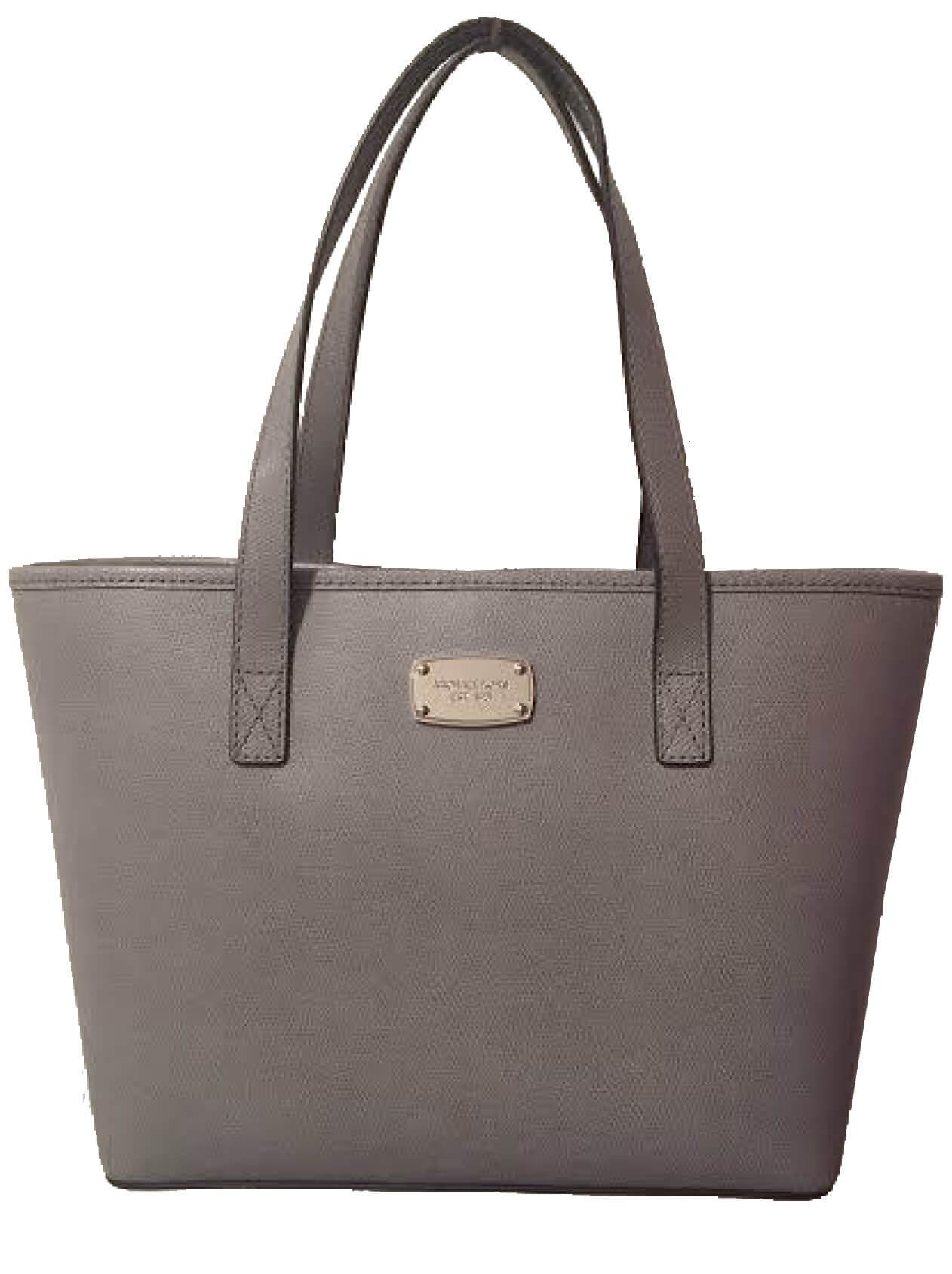 Michael Kors Elegantná kožená business kabelka Jet Set Saffiano Leather  Tote Grey ab5571b8e31