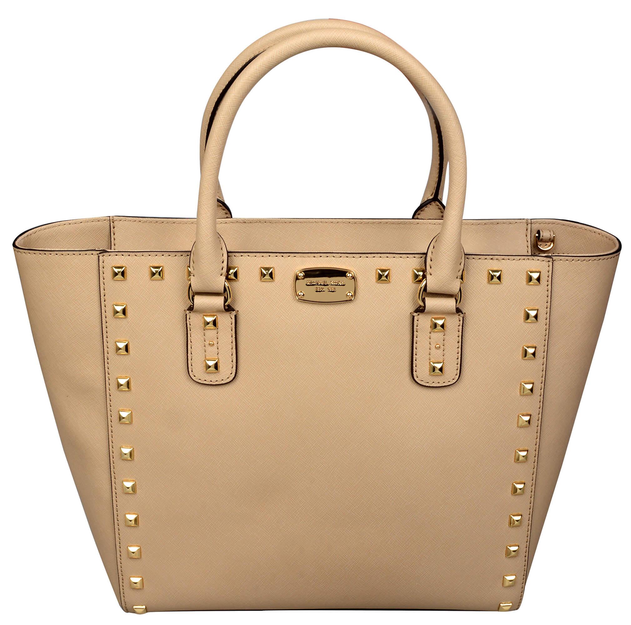 Michael Kors Luxusná kožená kabelka Sandrine Stud Saffiano Leather Studded  Large Tote Bag - Beige 293bc6b2f15