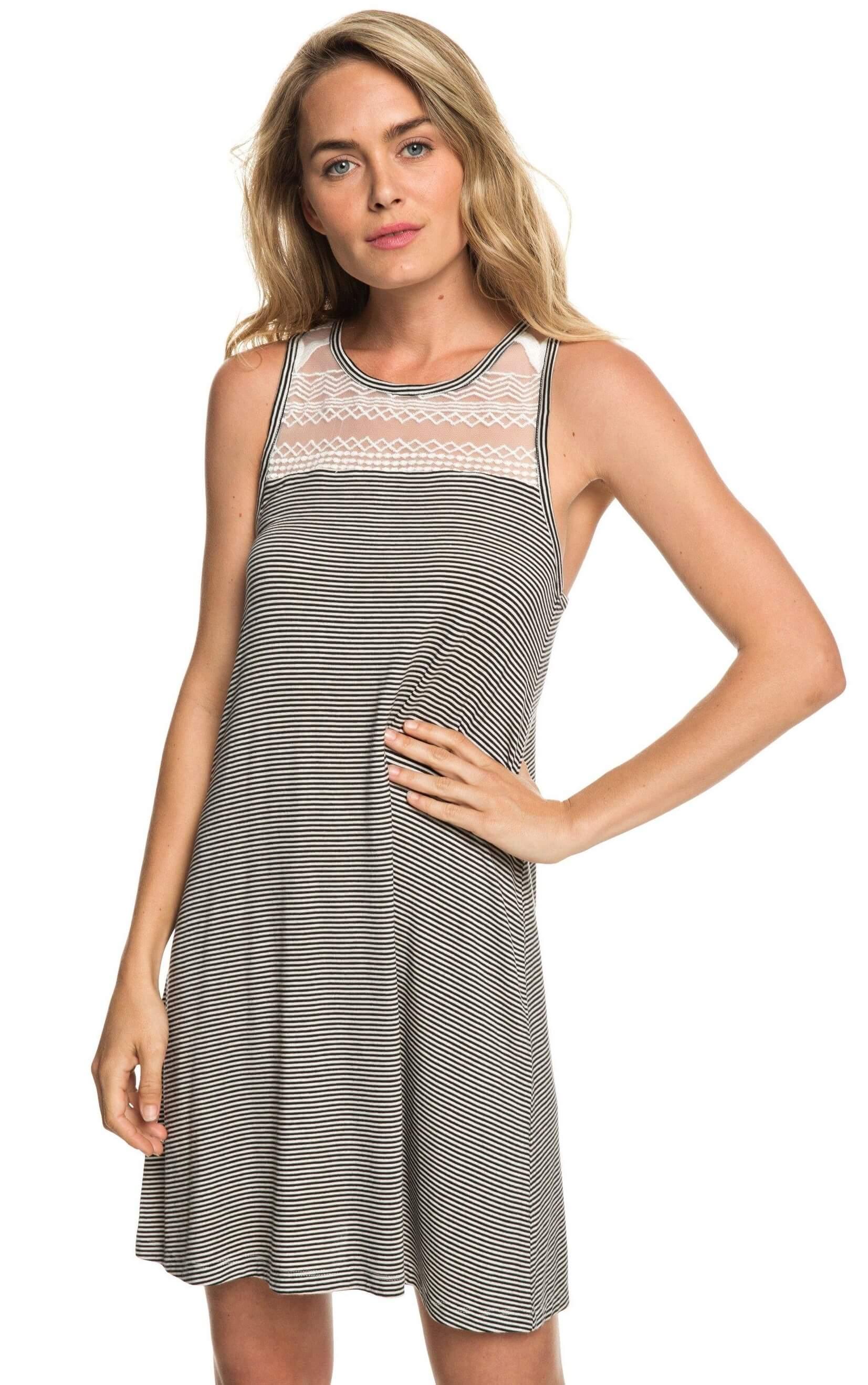 4e2fa27b76e Roxy Dámské šaty What Lovers Do Anthracite Cosy Stripes ERJKD03239-KVJ4