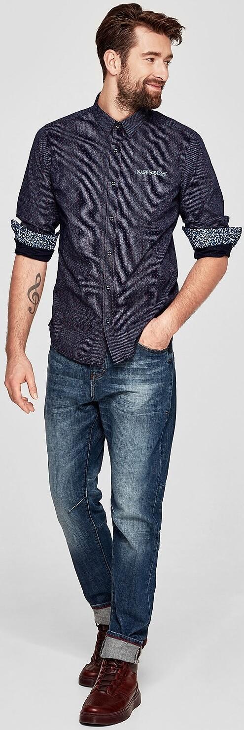 S.Oliver Pánská košile 13.802.21.3191.59A9 Blue Ink  282711f6c9