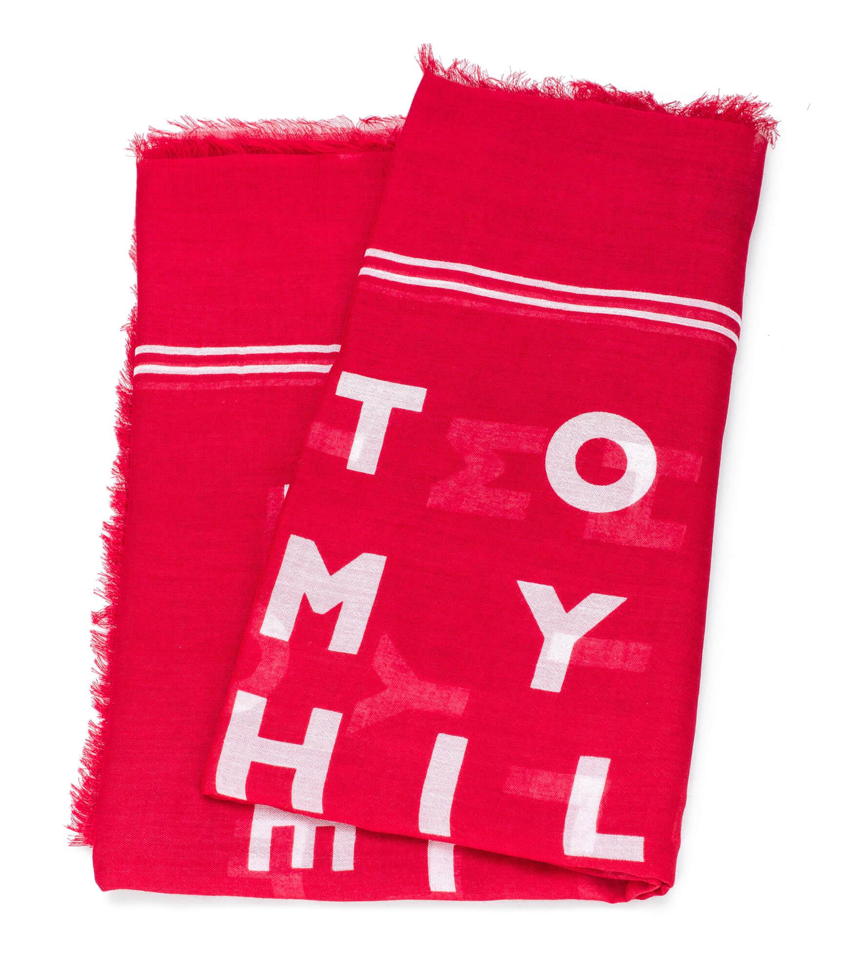 7463530732 Tommy Hilfiger Dámská šála Logo Story Scarf Tommy Red