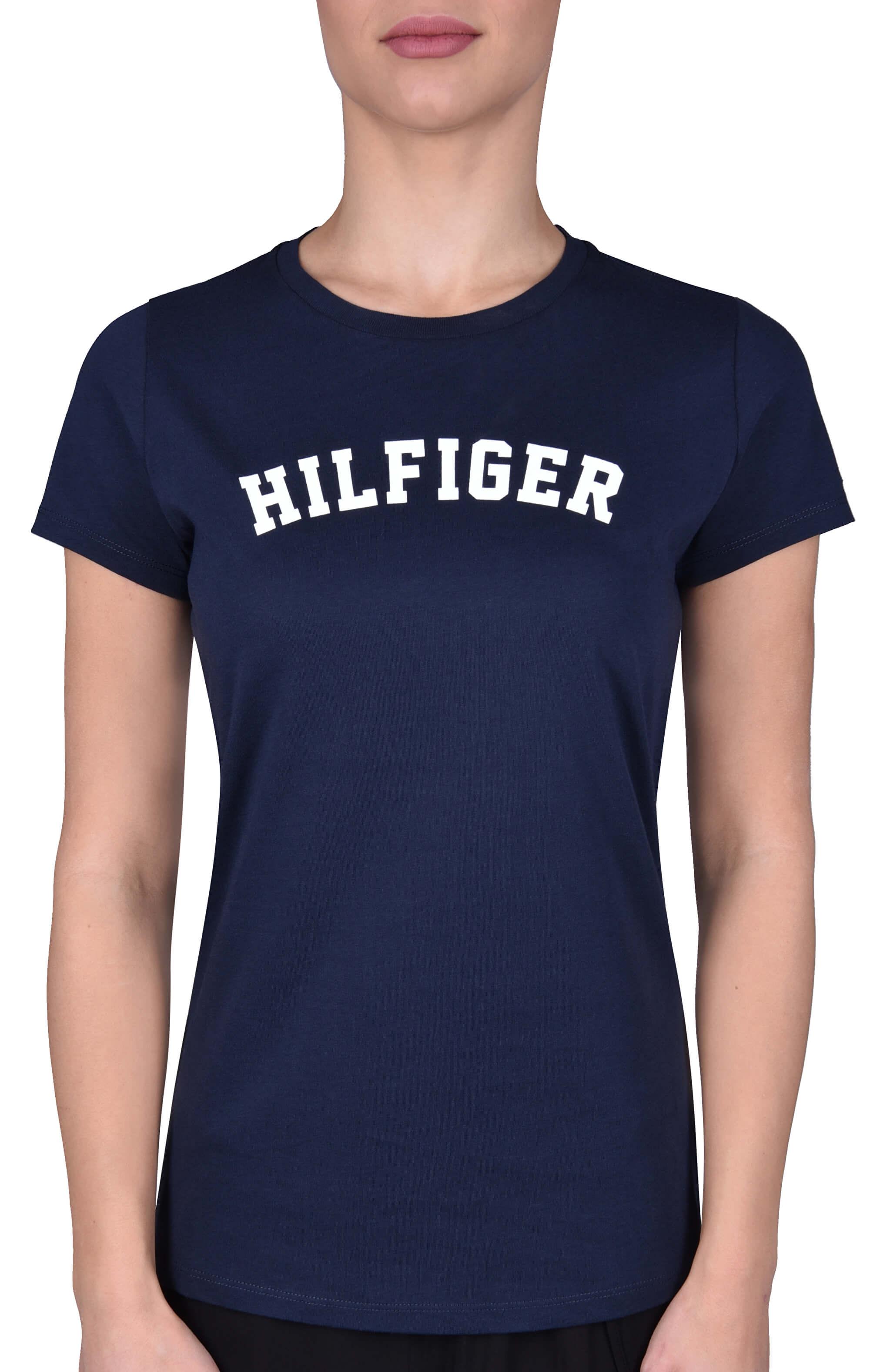 Tommy Hilfiger Dámske tričko Cotton Icon ic Logo SS Tee Print UW0UW00091  -416 Navy Blaze c7fe075004a