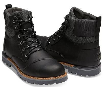 TOMS Pánské černé pohorky Wp Black Leather Br Wool Ashland Doprava ... 9d5968a1cd