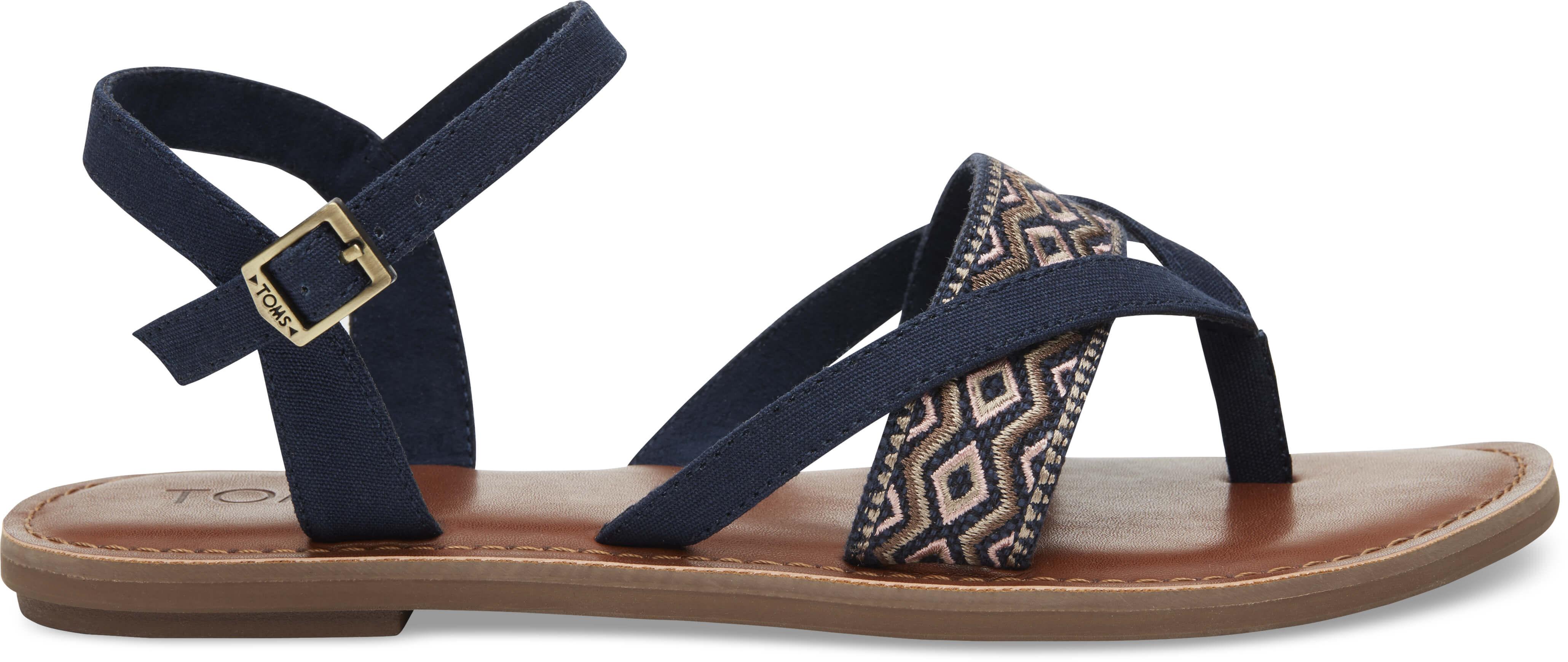 TOMS Dámské tmavě modré páskové sandále Navy Canvas Embroidery Lexie Sandals 8d074ab834f