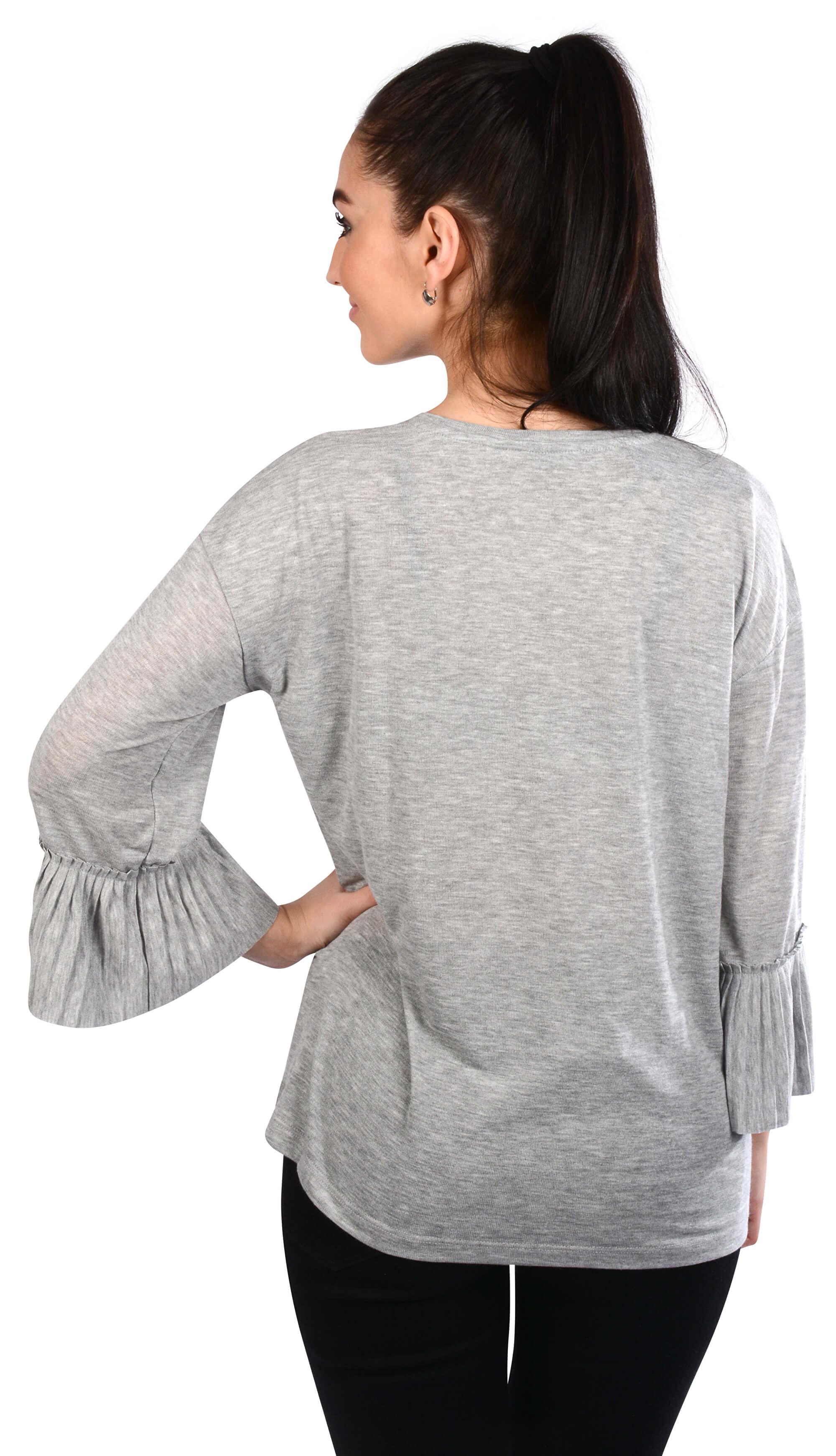 Vero Moda Dámské triko Jakuri 3 4 Cuff Frill Top D2-2 Light Grey ... 7dd6fa1feb