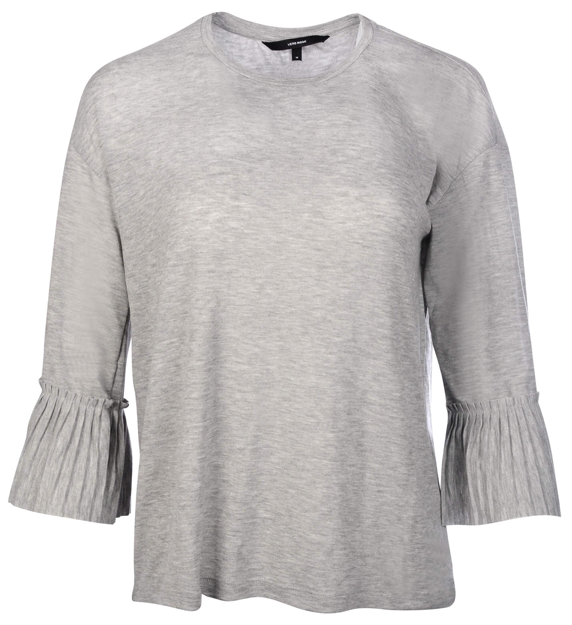 Vero Moda Dámské triko Jakuri 3 4 Cuff Frill Top D2-2 Light Grey Melange  Melange bdbdb9c60a