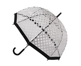 Dámský průhledný holový deštník Clear Dome Stick With White Polka Dots POESWB