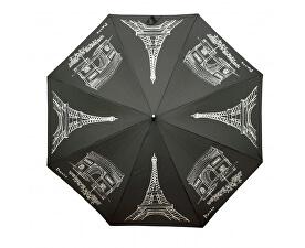 Dámský holový vystřelovací deštník Flex AC Paris- černý 740765P
