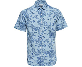 f0e54590b8d ONLY SONS Pánská košile Tapor Ss Flower Aop Denim Shirt Dark Sapphire