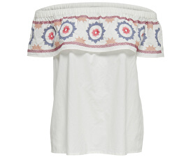 Bluza Elena Off Shoulder Top Wvn White Aztec Embrodiery