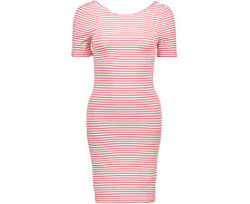 Rochii Bella S/S Deep Dress Jrs Cloud Dancer Geranium