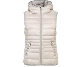Dámska béžová prešívaná vesta s kapucňou