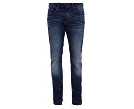 Pánské tmavě modré strečové kalhoty Slim délka 32