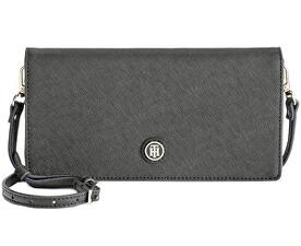 Elegantní černá kabelka Tommy Hilfiger TH Enamel-Serif Convertible Crossbody Clutch