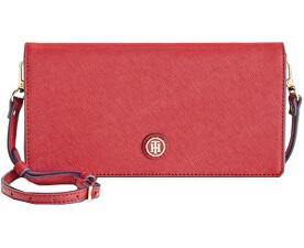 Elegantní červená kabelka Tommy Hilfiger TH Enamel-Serif Convertible Crossbody Clutch