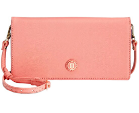 1354e0101e Tommy Hilfiger Elegantná ružová kabelka Tommy Hilfiger TH Enamel-Serif  Convertible Crossbody Clutch