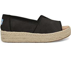 Dámske čierne sandále na platforme Black Washed Canvas Open Toe Platform Alpargata s