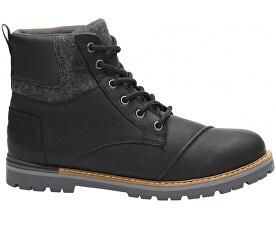 Pánské černé pohorky Wp Black Leather Br Wool Ashland