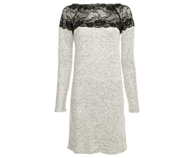 Dámské šaty Cima Lace Ls Dress Light Grey Melange W.Black Lace