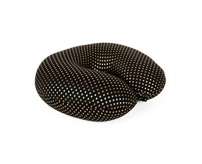 Cestovní polštář černý se zlatými puntíky
