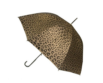 Dámský holový vystřelovací deštník Metallic Animal Print Gold Leopard EDSAPG