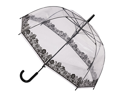 Blooming Brollies Doamnelor holovaty transparent umbrela Clear Dome Stick with Black Lace Effect POESLACE