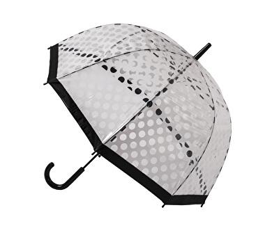 Blooming Brollies Umbrelă transparentă cu tijă pentru femei Clear Dome Stick With White Polka Dots POESWB