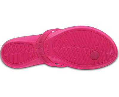 Șlapi damă Crocs Isabella Graphic Flip Candy Pink/Tropical 204196-6JS