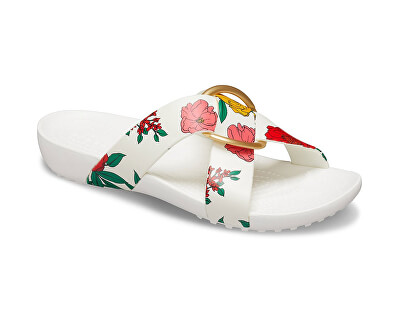 Frauenschuhe Crocs Serena Prntd Cross Band Slde W Floral/White 206434-97E