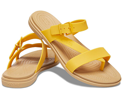 Damen Sandalen Crocs Tulum Toe Post Sandal W Canary / Tan 206108-75Q