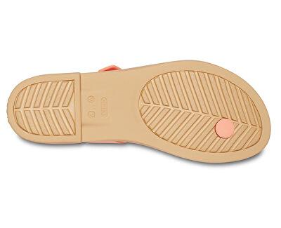 Damen Sandalen Crocs Tulum Toe Post Sandal W Grape / Tan 206108-82R