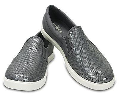 Crocs Pantofi sport pentru femei argintii CitiLane Sequin Slip-on Silver 204285-040