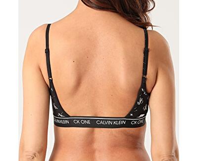 Női bikini felsőCK One Unlined Bralette QF5727E-SL5 Staggered Logo Black