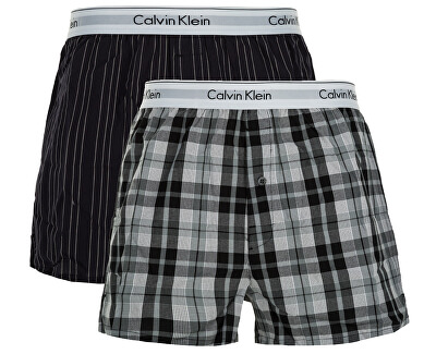 Sada trenek Modern Cotton Stretch Slim Boxer 2P NB1396A-JKZ Ryan Stripe Deep Well/Hickory Plaid Black