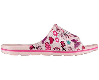 Detské šľapky Long Printed Candy Pink Hearts 6375-224-4100