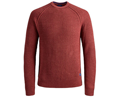Pánsky sveter JORPANNEL KNIT NECK Brick Red