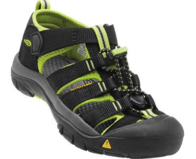 KEEN Detské sandále Newport H2 Black/Lime Green JUNIOR