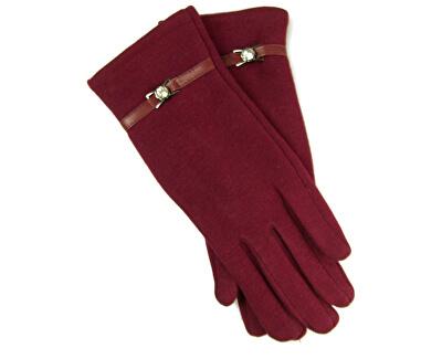 Dámske rukavice s pásikom - vínová